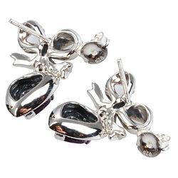 Zilver oorbellen amethist hart strik markasiet