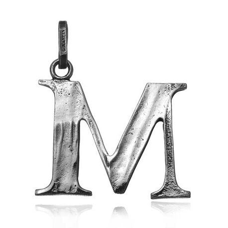 Zilveren letter M hanger Raspini