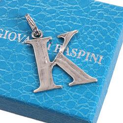 Zilveren letter K hanger raspini