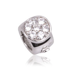 Side Click On charms zilver rond zirkonia