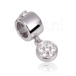 Side Click On Charms Zirkonia Zilver Rond