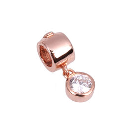 Verguld Zilver Rose Side Click On Charms Zirkonia