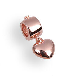 Side Click On Charms Hartje Zilver Rose Verguld