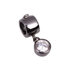 Side Zilver Black Rhodium Click On Charms Zirkonia
