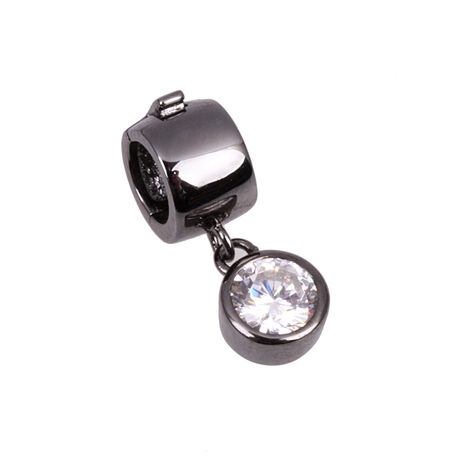 Side Zilver Black Rhodium Click On Charms Zirkonia
