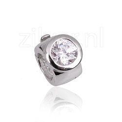 Side Click On charms zirkonia zilver