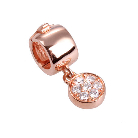 Roséverguld zilver click on charms rond zirkonia
