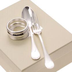 Verzilverd kinderbestek met servetring in een mooi doosje