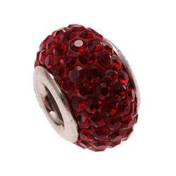 Imenso Zilveren Bead Donker Rood