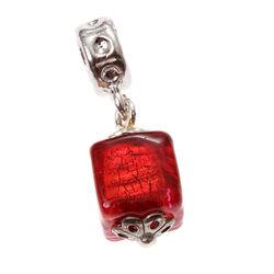 Imenso Zilveren Bead Murano Rood Glas