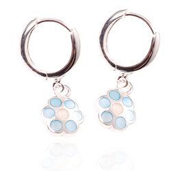 Zilveren creolen bloempjes blauw parelmoer