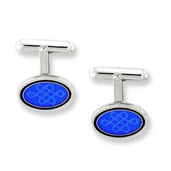 Zilveren manchetknopen blauw emaille Nicole Barr