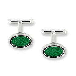 Zilveren manchetknopen met groen emaille Nicole Barr