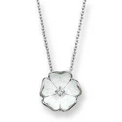 Zilveren ketting met witte bloem met briljant Nicole Barr