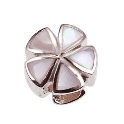 iMenso Zilveren Bead Bloem Parelmoer