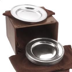 12 zilveren bordjes voor ontbijt of dessert