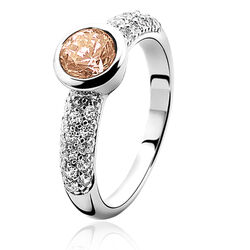 Zilveren ring met champagne zirconia zir840c zinzi