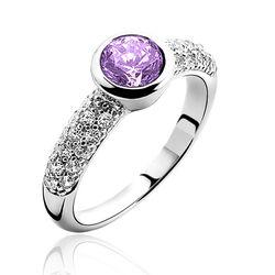 Zinzi ring zilver met paars zirconia zir840P