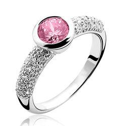 Zilveren ring roze zirconia zir840r zinzi