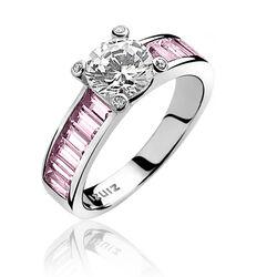 Zilver ring met roze scheen en wit zirkonia ZIR775r Zinzi
