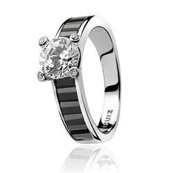 Zinzi ring zwarte scheen met wit zirkonia zir775z