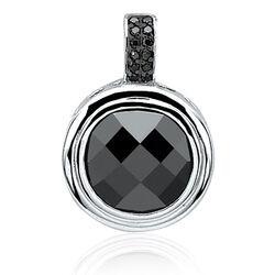 Zilveren hanger zwart zirkonia rond zih841z zinzi