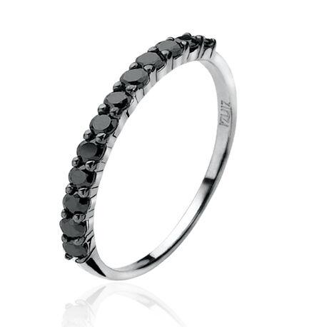 Smalle zilver ring met zwart zirkonia zir827z Zinzi
