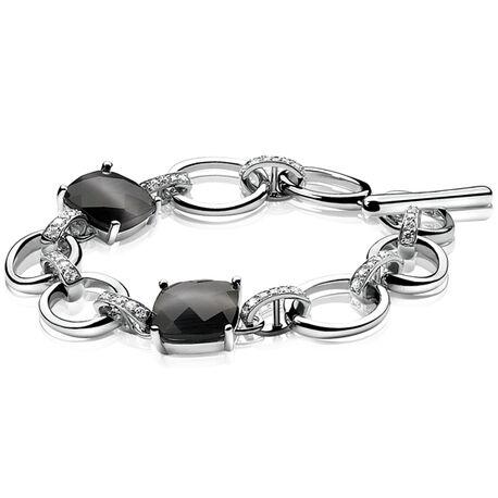 Zilveren armband met zwart en wit zirconia ZIA625 Zinzi