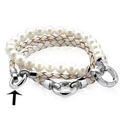 Zinzi witte gevlochten armband zilver slot zia730w-s