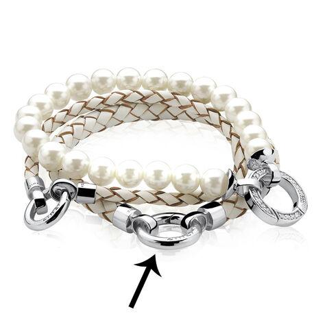 Zinzi Lederen armband zilver slot Zia731w-S
