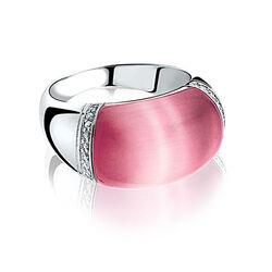 Zilver ring met roze Cat Eye zir794r Zinzi