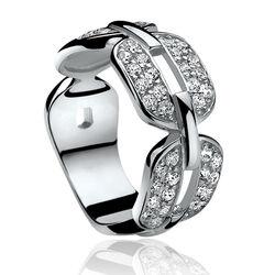 Zilver ring met zirkonia schakels zir813