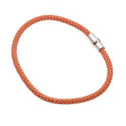 Oranje armband met zilverdraad en zilver sluiting