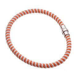 Zijden Armband Magneetsluiting Zilver Wit Oranje