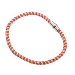 Armband oranje wit zijde met zilverdraad