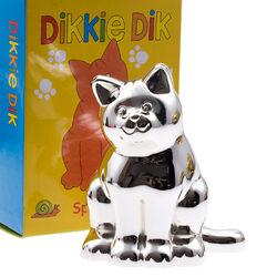 Spaarpot poes Dikkie Dik verzilverd van Zilverstad