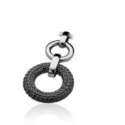Zilveren hanger zwart zirconia rondjes ZIH633 Zinzi