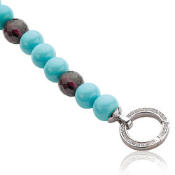 zinzi armband turkoois en paarse beads zilver sluiting zia400pt