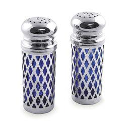Verzilverd peper en zout stel blauw glas
