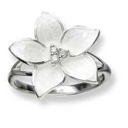 Nicole Barr ring bloem met diamant