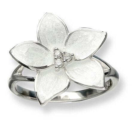 Zilveren ring met wit emaille bloem met diamantjes