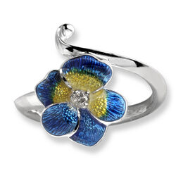 zilveren ring blauw geel viooltje van Nicole Barr
