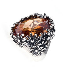 Zilveren ring oranje zirkonia Margrietjes