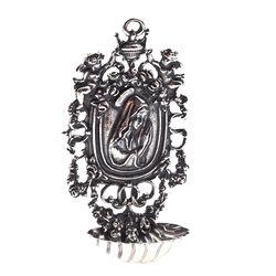 Zilver wijwaterbakje met afbeelding van Maria