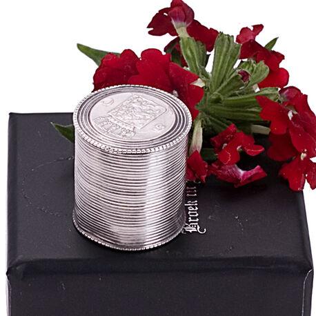 Zilveren Muntendoosje Ribmotief 2 Cm. Hoog