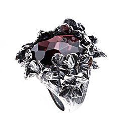 Zilveren ring vlinders zirkonia aubergine