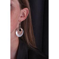 Parelmoer oorbellen met roséverguld zilver