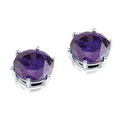 Zilveren oorstekers met paars zirkonia zio276p