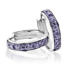 Zilveren oorringen met paarse zirkonia