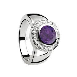 Zilveren ring met rond paars zirkonia zir460p